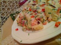 Majonézes-joghurtos krumpli saláta ízekkel-színekkel17