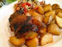 Sárgabarackos ropogós csirke-sült zöldség salátával és steak burgonyával6